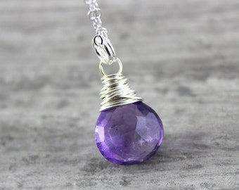 Purple Amethyst Necklace, February Birthstone Necklace, Sterling Silver Necklace, Small Pendant Necklace, Amethyst Gemstone Necklace