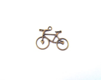 10 brass Bicycle Charms, Bike Charms, D77