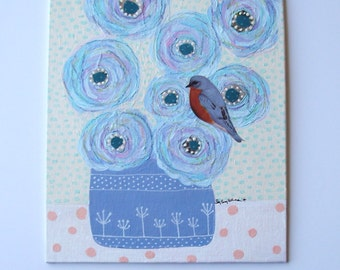 "Birds and blossoms series: bluebird-original mixed media painting on 8"" x 10"" canvas panel, country decor, cottage chic, abstract flowers"