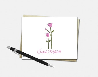 Personalized Tulip Note Cards - Set of 10 - Folded Note Cards - Personalized Tulip Stationery - Stationary for Women - Tulip Note Cards