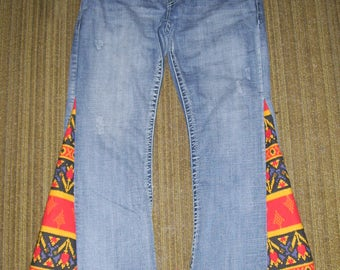 Hippie Bell Bottom Jeans OOAK Retro Boho Upcycled Red Yellow Flare Jean Unique Axel Bell Bottoms Adult Unisex Jeans 38x33 Plus Size Jeans