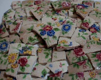 Chintz- Mosaic Tile Pieces - Chintz Flowers- Dark Pink Flowers-Blue Flowers- Yellow-Green - White Chintz Mosaic Tiles -Tesserae Pieces