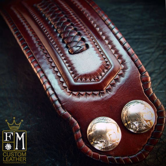 Leather cuff wristband Native Western style hand tooled with kangaroo lace and Buffalo nickels handmade for YOU in NYC by Freddie Matara