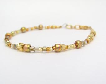 Gold Friendship Bracelet, Beaded Friendship Bracelet, Mix Size Seed Beads, Dainty Stacking Layering, Stocking Stuffer, MinimalistGift