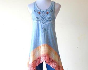 XS - S ~ Cerulean Blue Tribal & Distressed Plaid Tank Sun Dress / Top / Tunic ~  lagenlook teen dress handmade hippie boho chic wearable art