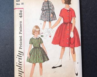 Vintage Simplicity 4063 Pattern 1960's Girl's Dress  - size 10