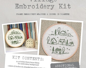 Village - Embroidery Kit - Create a charming village embroidery with this lovely kit