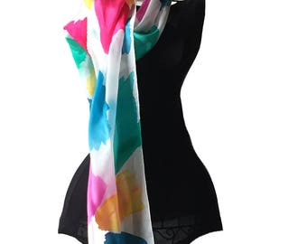Color Splashes Silk Scarf, Hand Painted Silk Scarf
