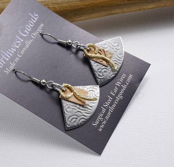 Aluminum, Copper, and Brass earrings Surgical Steel earwires