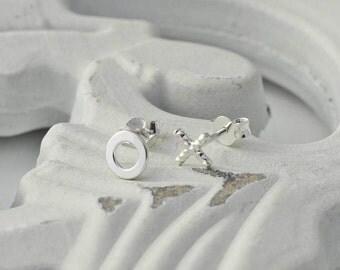 Silver Hugs And Kisses Earrings - Sterling Silver X and O Earrings - Little Sterling Silver Earrings - Silver Valentine Earrings
