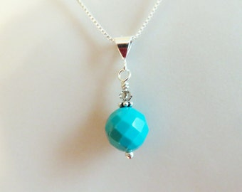 Turquoise and Sterling Silver Pendant on Chain, Robin's Egg Blue, Interchangeable, Mother's Day Gift for Her, December Birthstone, Anytime