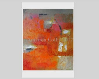 Print from abstract painting, warm colours, orange, pink, gold,grey, buff, white, on A6 to A3 size