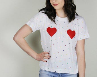 HEART Shirt, Polka Dot Heart Shirt, Handmade HEART Boob Shirt, 80s Polka Dot Top, Vintage polka dot Shirt, Diy Hearts Top,Womens Heart shirt