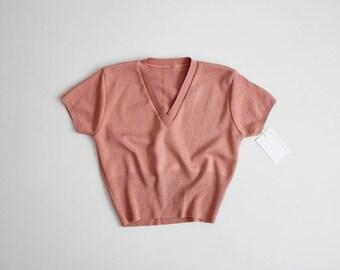 dusty pink crop top | 70s crop top | knit crop top