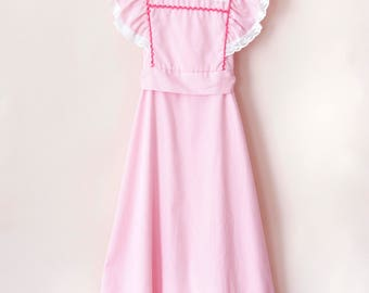 Vintage Girl Dress / Vintage Girl Pink White Striped Maxi Dress / Size 7 Girl