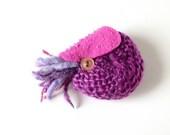 Nautilus Brooch #32 (beet purple) - plush pin creature toy nuigurumi nature amigurumi ocean sea creature felt knitted yarn wool violet