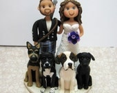 Reserved for Kristen  balance due for a custom Wedding Cake Topper with groom in kilt and dogs