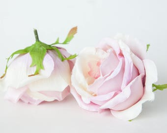 One Pretty Rose in Light Pink and Lilac - 4 inches - Silk Flowers, Artificial Flowers, flowers - ITEM 0186