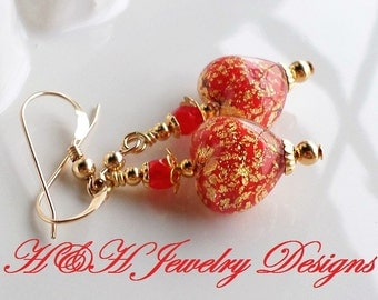 Red Gold Murano Glass Earrings, Venetian Glass Earrings, Red Murano Heart Earrings, Heart Venetian Glass Earrings, Red Gold Foil Heart Beads