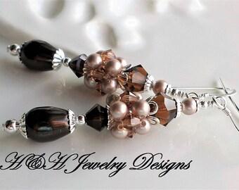Brown Pearl Crystal Long Earrings, Pearl Cluster Earrings, Brown Earrings, Silver Brown Pearl Earrings, Long Pearl Earrings, Cluster Earring