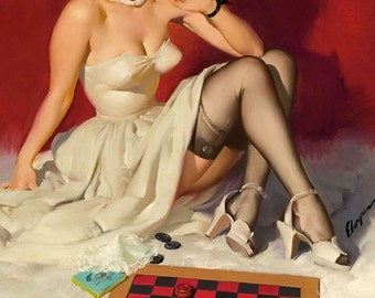 8X11 ELVGREN - YOUR MOVE  - Pinup - Romantic Flirting exposes garters, nylons, stockings, board games, checkers, Pin-Up Game Room