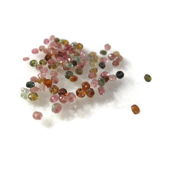 Natural Tourmaline Beads, Small Rondelle Gemstones, 2mm, 90 Count, Loose Gemstone Beads, Jewelry Supplies (L-Mix7e)