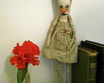 dance art doll, sandy mastroni , odd creepy doll, bizarre,stitched linen, spooky odd