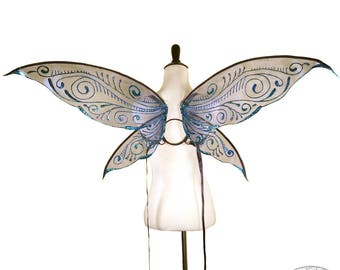 Isabelle No. 3 - Medium Glitter Fairy Wings in Navy and Blue - Convertible Strapless