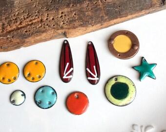 Destashed Enamel Charms, Enamel on Copper, Copper Charms, Teardrop Charms, Yellow Enamel, Red Enamel, Star Charm, Blue Enamel, Supplies