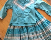 Patio Set Fiesta skirt and top Turquoise with Silver Ric Rack 1950s Era