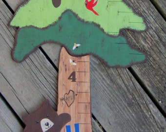 FOREST BEARS Wood Growth Chart - Custom Original Hand Crafted Hand Painted Keepsake