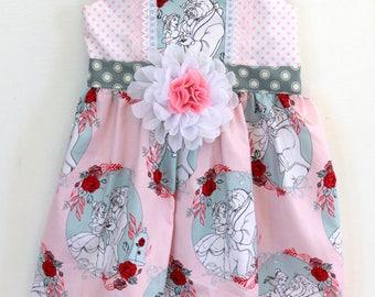 Beauty and the Beast Party Dress, Belle dress, toddler dress, girls dress,