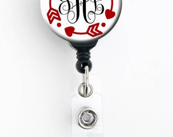 Retractable ID Badge Holder - Personalized Name - Arrow Monogram - Choice of Colors - Badge Reel