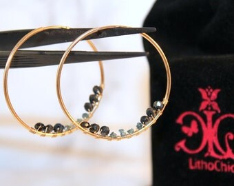 Black Spinel and Raw Blue Diamond Nugget Endless Gold-filled Hoop earrings