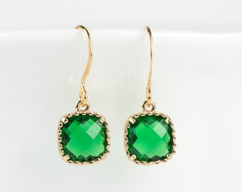 May Birthstone Gold Earrings, Emerald Gold Square Earrings, May Birthstone Emerald Gold Framed Earrings, Bridesmaid Earrings, Gold Earrings