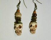 Tiny skull earrings, Shrunken Head, Zombie, Rustic, Voodoo, Skeleton, Horror Jewelry, Zombie Head Earrings