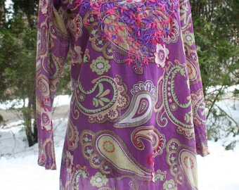 SALE was 39.00 Purple and pink paisley short dress tunic embroidered India print cotton hippie boho