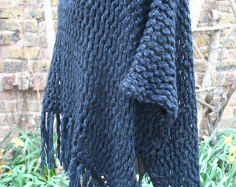 Dark blue and black poncho crochet knit fringe arm holes sweater