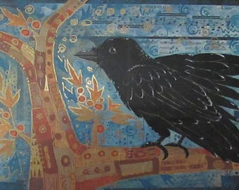 Crow Raven Art - Original Acrylic Painting - Collage Art - Mixed Media - Black Crow on Blues - Abstract Art - Wall Decor - Wall Art