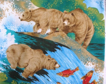 Bears Lunch time Designer Michael Miller Fabric Yardage Green red blue white  brown Nature outdoors Quilting Sewing Cotton 42 X 42 inches