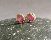 14K Gold Rose Cut Pink Sapphire Stud Earrings, birthstone, Maltese Cross