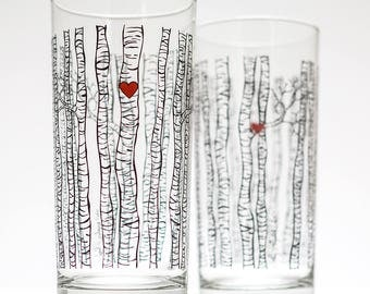 Birch Tree Glassware - Set of 2 Everyday Drinking Glasses, Water Glasses, Birch Trees, Tree Glassware, Birch Glass, Tree Wedding Glasses