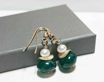 Green Onyx and Pearl Dangle Earrings -Wire Wrapped Dangle Earrings, Sterling Silver, Freshwater Pearl, Gemstone Earrings, Gift Ideas