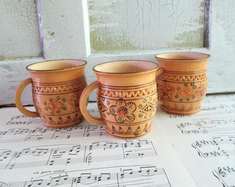 Three Vintage Carved and Wood Burned Wooden Mugs