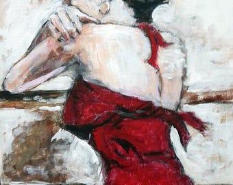 Brunette Women in Red Dress Original Acrylic Painting
