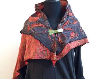Ancestor Capelet Shawl #4 - OOAK Wearable Art,  Handmade cape, contemporary art clothing, fine art wearables, buttoned shawl shrug