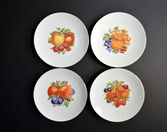 Bareuther Walksassen Fruit Porcelain Dessert/Salad Plates -Made in BAVARIA GERMANY -Decorative Plates Wall Hanging Set of 4 Hostess Gift
