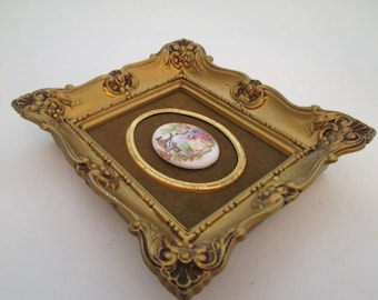 Vintage Small Picture Frame, 5x4 frame, Gold Photo Frame, Baroque decor, Limoges cabochon, Syroco, boho decor, French country decor, resin