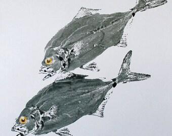 GYOTAKU fish Rubbing Two Salt Water Jacks 8.5 X 11 Fisherman Gift quality Art Print by artist Barry Singer