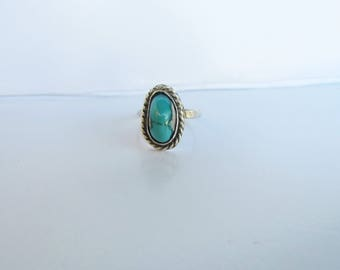 Native American - Southwestern Sterling Silver and Turquoise Ring - Size 3.5    1547